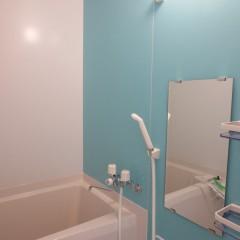 浴室(アクセント壁はジュエリーアクア。標準で施工されます。)