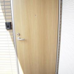 玄関ドア:木目調です。